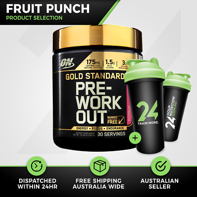 Optimum Nutrition Gold Standard Pre Workout | 30 Serve Fruit Punch ON Free Gift!