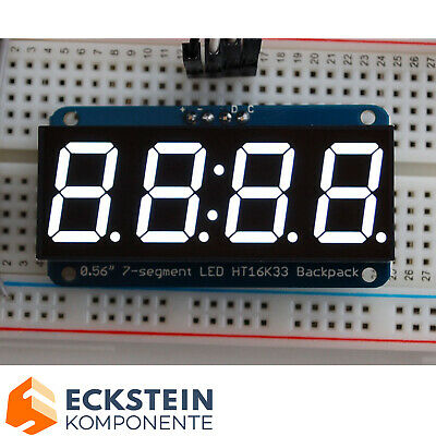 "Adafruit 0.56"" 4-Digit 7-Segment Display w I2C Backpack - White AF1002"