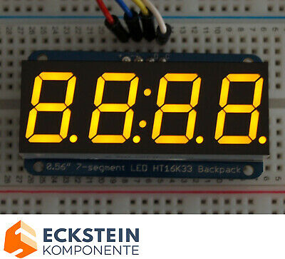 "Adafruit 0.56"" 4-Digit 7-Segment Display w I2C Backpack - Yellow AF879"