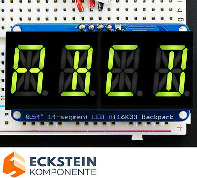 "Adafruit Quad Alphanumeric Display -Yellow-Green 0.54"" Digits w  Backpack AF2159"