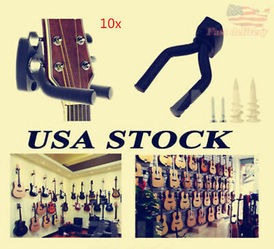 10Pc Lot Guitar Hanger Wall Holder Stand Hooks Display Acoustic Electric Bass EC