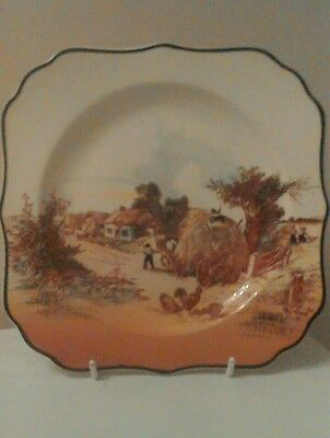 1 x Royal Doulton Series Plate Square 'Rustic England' Hay Wagon[  D6297 ]