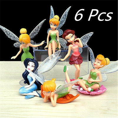 6 PCS Disney Princess Tinkerbell Fairy Action Figure Wing Doll Toy Cake Topper E