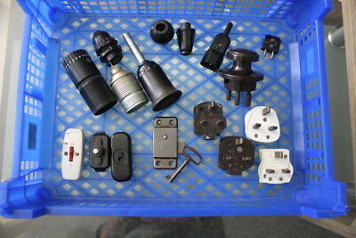 Vintage Collection Job Lot Of Old Light Sockets - Cable/Light Switches - Plugs