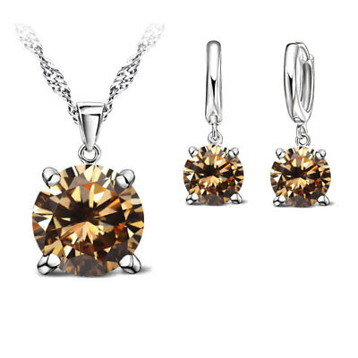 925 Sterling Silver Cubic Zirconia Crystal Necklace & Earrings Set - 8 Colours