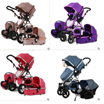Luxury 3 in 1 Foldable Pushchair Baby Stroller High View Pram Bassinet&Car Seat