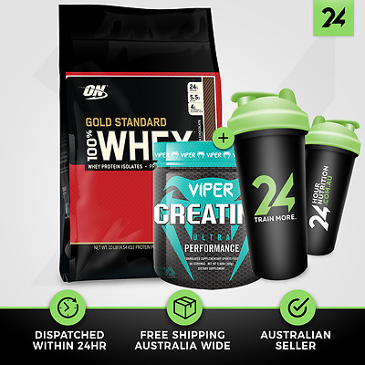 1 X GOLD STANDARD 100% WHEY by OPTIMUM NUTRITION + VIPER CREATINE | Free GIFT!