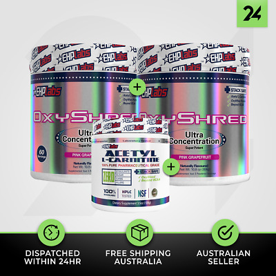 2 X OXYSHRED + 1 X ALCAR by EHP LABS | Thermogenic Fat Burner Weight Loss!