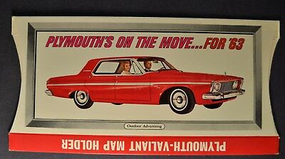 1963 Plymouth Fury & Valiant Signet Map Holder Sales Brochure Excellent Original