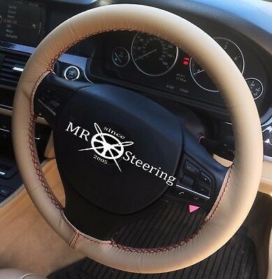 FOR TOYOTA AURIS 1 PERFORATED LEATHER STEERING WHEEL COVER 06 WHITE DOUBLE STCH