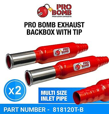 PRO Bomb X2 Two Universal back box round tail pipe exhaust In Cherry Red Color