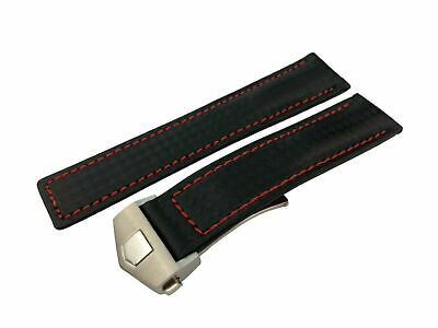 20mm Black/Red Stitching Genuine Carbon/Leather Strap/Band fit Tag Heuer Watch