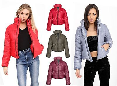 Womens Winter Puffa Puffer Quilted Fashion Padded Cropped Coat Jacket Warm Top