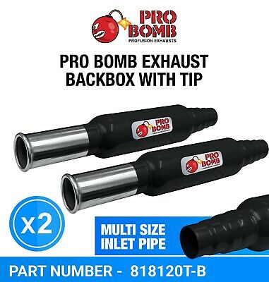PRO Bomb X2 Two Universal back box exhaust In Gloss Black or Cherry Red Color