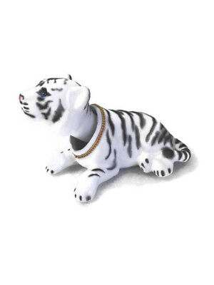 Ferocious Bobblehead White Tiger with Auto Dashboard Adhesive