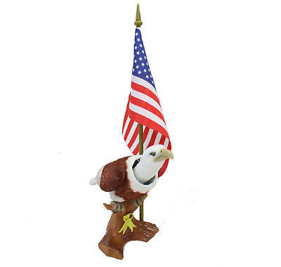Patriotic Bobblehead Eagle with Car Dashboard Adhesive and American Flag