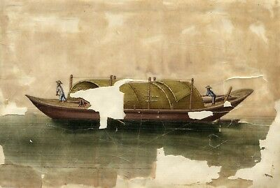 Antique Mid-19th-century Chinese Watercolour Painting on Pith - Junk Boat