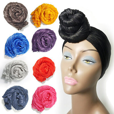 Stretch Long Black Head Wrap African Hair Head Scarf Tie,Multi Color(1pcs)