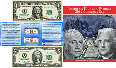 Americas Founding Fathers 2012 Currency Set $1 & $2 Matching Serial # W/BEP Card