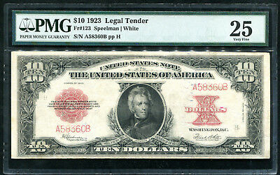 "Fr 123 1923 $10 ""Pokerchip"" Legal Tender United States Note Pmg Very Fine-25"