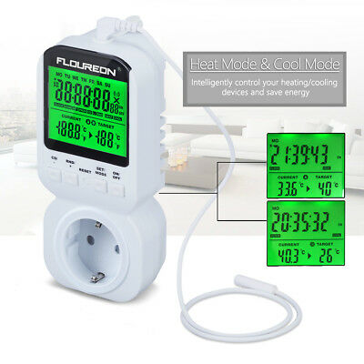 digital thermostat steckdosen zwischenstecker raumthermostat thermoschalter 16a eur 19 99. Black Bedroom Furniture Sets. Home Design Ideas