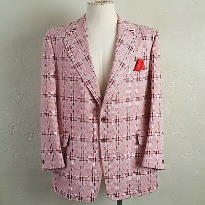 VTG 60s/70s ~ MOD Red & White Check Sports Coat Jacket ~ Christmas Party ~ 46R