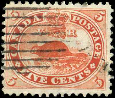 Canada #15 used F-VF 1859 First Cents 5c vermilion Beaver CV$35.00