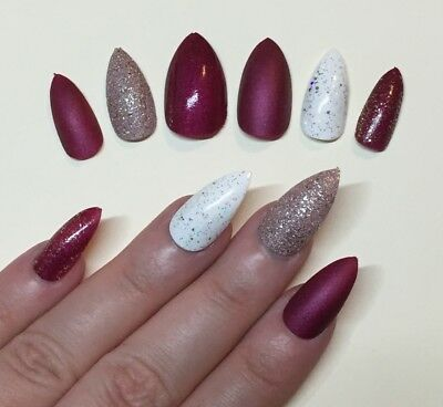 Hand Painted False Nails STILETTO (Or ANY SHAPE) Silk Red Christmas Gold Bronze
