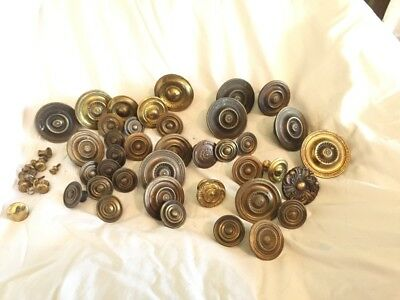 Various Antique Brass Drawer & Door Knobs