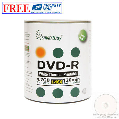 100 Pack Smartbuy Blank DVD-R 16X 4.7GB 120M White Thermal Printable Record Disc