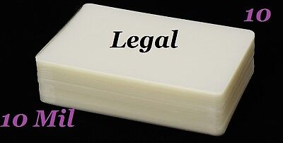 Ultra Clear (10) LEGAL SIZE  Laminating Pouches Sheets 9 x 14-1/2 (10 Mil)