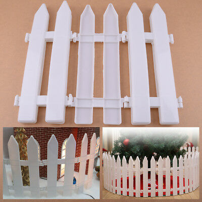 5Pcs White Plastic Christmas Tree Fence Rail House Party DIY Spliced Ornaments
