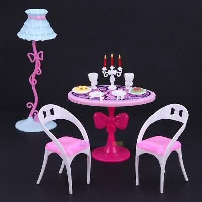 21pcs Mini Plastic Tableware Light Lamp Dishes for Barbie Doll House Furniture