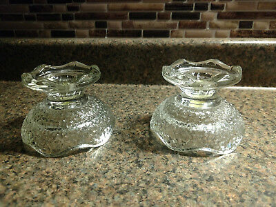 2 Vintage Ornate Pressed Clear Glass Matching Set of Candlestick Candle Holders