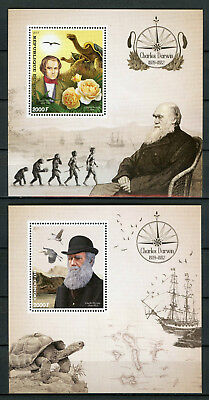Congo 2017 MNH Charles Darwin 2x 1v S/S Roses Birds Tortoises Science Stamps