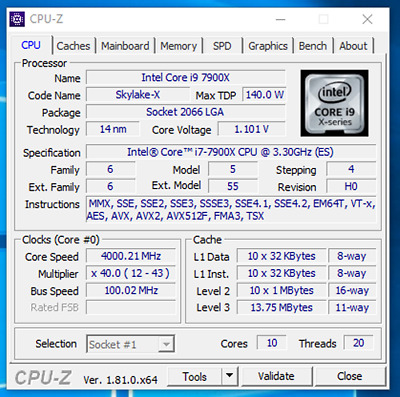 Intel Core i9-7900X (10-Core/20Thread) Skylake-X Processor