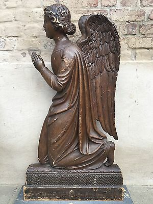 Stunning X LARGE  French Antique Gothic Church Angel in wood Circa 1880 41.73 H