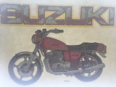 Vintage 70s Suzuki Motorcycle Glitter Iron On Transfer Authentic!