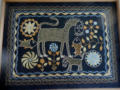 Craft Hand Made Embroidery Picture Asian Framed
