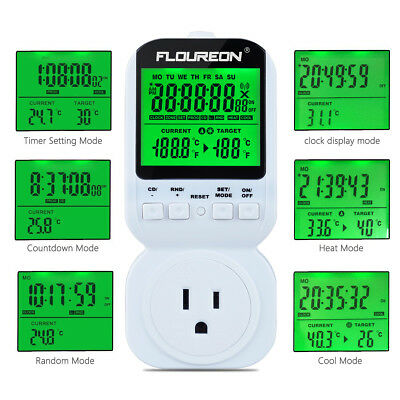 Electrical Digital Thermostat Switch Timer Socket Heat Cool Temperature Control