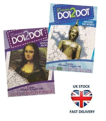 2 X ADULTS EXTREME DOT TO DOT Colouring Puzzle Book Set CALM RELAXING Mona Lisa