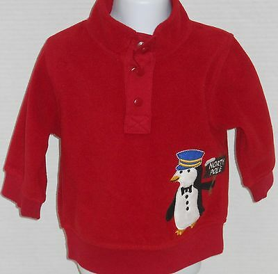 GYMBOREE Boy's North Pole Express Red Penguin Fleece Pullover Shirt 3-6M, 12-24M