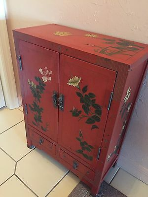 Vintage Hand Painted Japanese Asian Coral Laquer Wood Storage Cabinet
