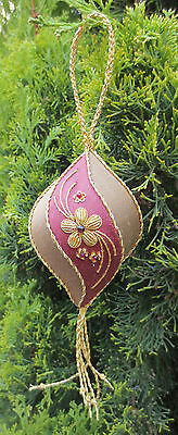 Floral Spiral Christmas Decoration Ornament Goldwork Embroidery by Alison Cole