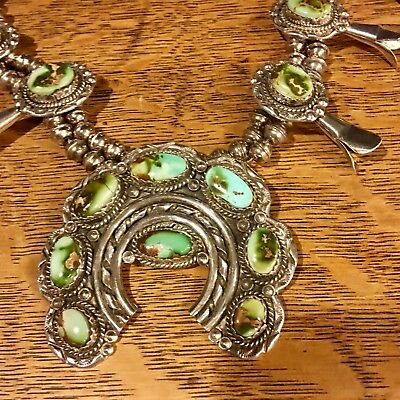 Vintage NAVAJO KINGs MANASSA Turquoise and Silver Squash Blossom Necklace