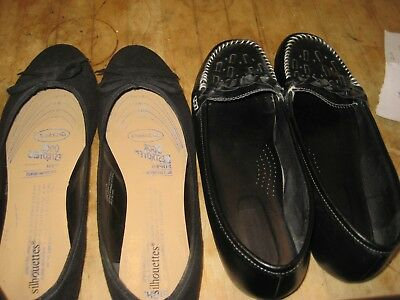 2 pairs of women's size 12 M  shoes - black flats- gently used