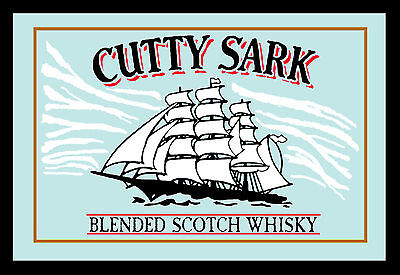 Cutty Sark Scotch Whisky Ship Nostalgia Bar Mirror 8 11/16X12 5/8in