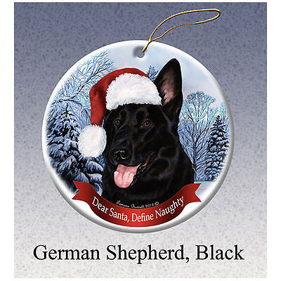 German Shepherd Black Howliday Porcelain China Dog Christmas Ornament