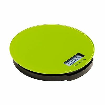 Premier Housewares 0807247 Zing 2 kg Round Glass Electronic Kitchen Scale, Lime