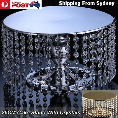 25cm Metal Cake Stand Acrylic Crystals Cupcake Dessert Platter Wedding Party Bir